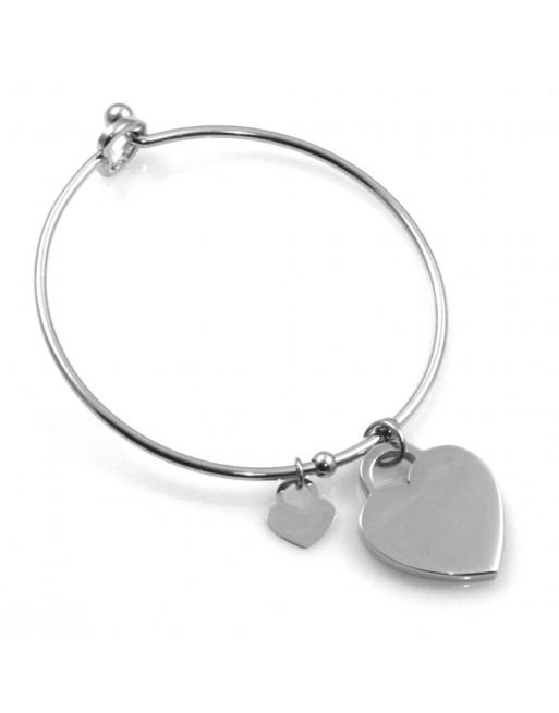 Bracciale rigido donna con ciondolo cuore per incisione in acciaio bcc2662