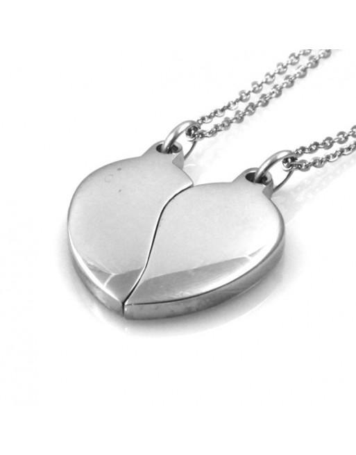 Collana cuore che si divide coppie e fidanzati personalizzabile con incisione cll0972