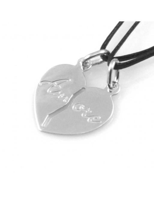 Collana con cuore che si divide coppie e fidanzanti personalizzabile sul retro cll1036