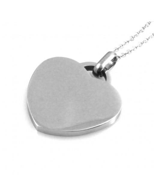 Collana donna cuore personalizzabile con incisione in acciaio cll1422