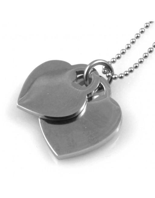 Collana donna doppio cuore personalizzabile con incisione cll1543