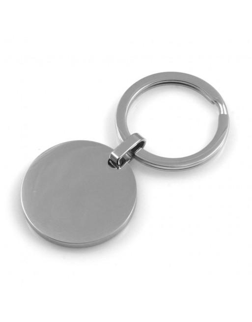 Portachiavi uomo donna tondo personalizzabile con incisione in acciaio prt0215