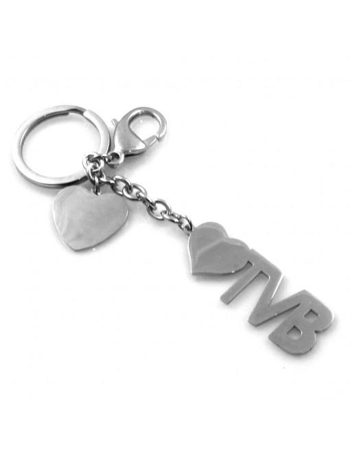 Portachiavi scritta tvb personalizzabile con incisione in acciaio prt0227