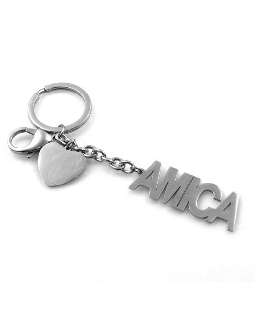 Portachiavi scritta amica personalizzabile con incisione in acciaio prt0230