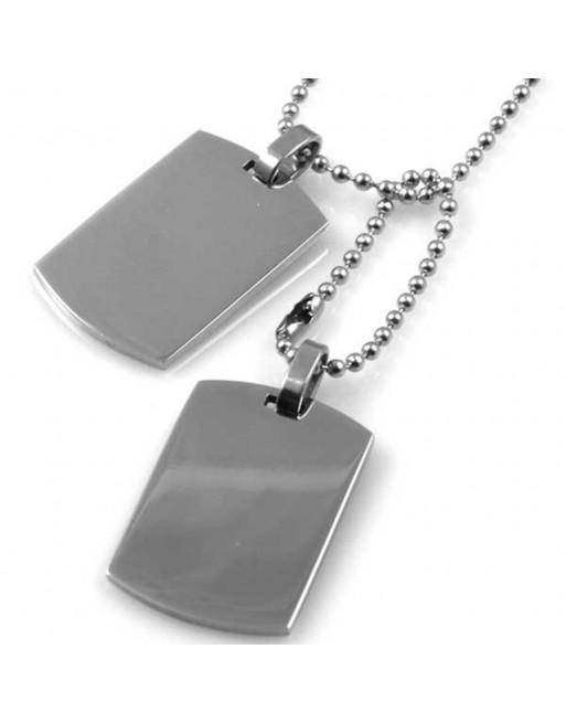 Collana uomo piastra militare personalizzabile con incisione in acciaio cll1200