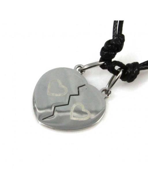 Collana cuore che si divide coppie e fidanzati personalizzabile con incisione cll1270