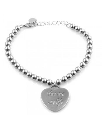 Bracciale con frase sull'amore su ciondolo cuore donna bcc2161