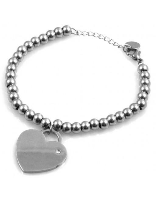 Bracciale donna con cuore personalizzabile con incisione in acciaio e strass bcc1686