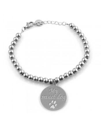 Bracciale cane con zampa a ciondolo acciaio bcc2173