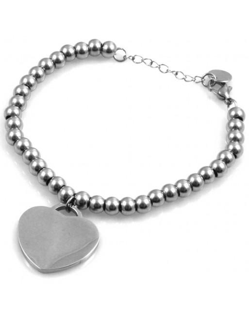 Bracciale donna con cuore personalizzabile con incisione in acciaio bcc1687