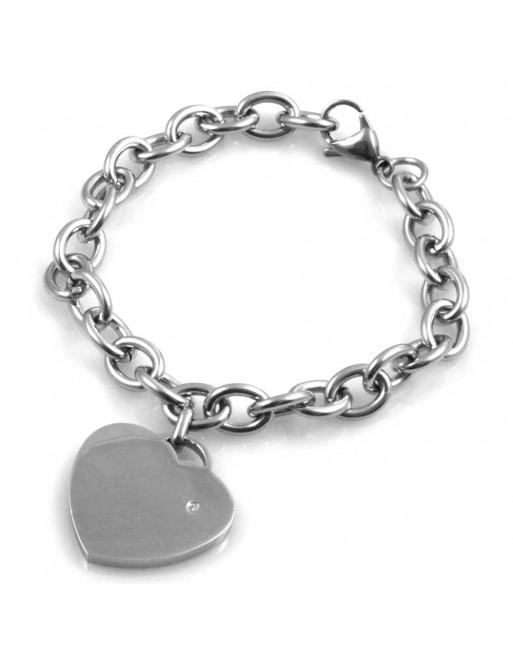 Bracciale donna cuore personalizzabile con incisione in acciaio e strass bcc1688