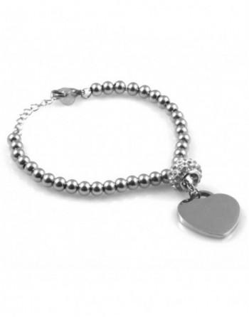 Bracciale donna cuore personalizzabile con incisione acciaio e strass bcc1843