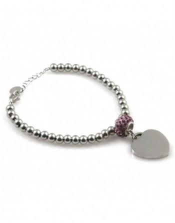 Bracciale donna cuore personalizzabile con incisione acciaio e strass bcc1844
