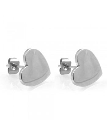 orecchini donna con cuore in acciaio ottimo da incidere a vite - occ0319