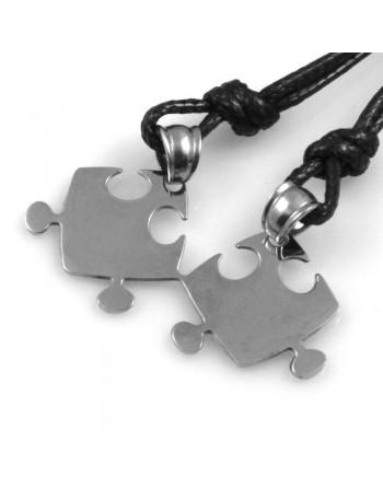 collana uomo donna puzzle spezzato che si divide in acciaio