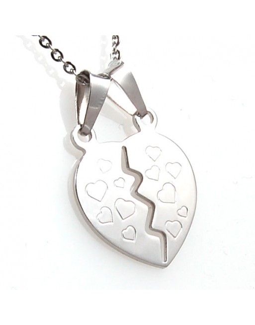 Collana con cuore che si spezza in argento - cln0351