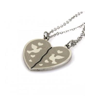 Collana con cuore che si divide con colombi - cln0103