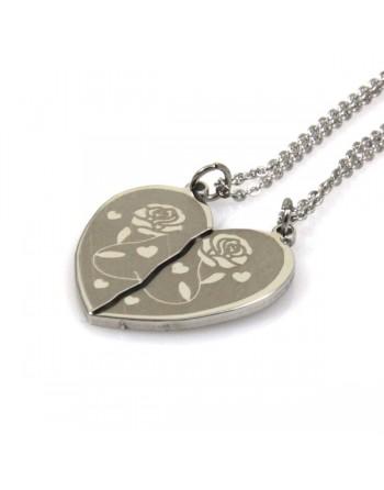 Collana con cuore che si divide con rose - cln0101