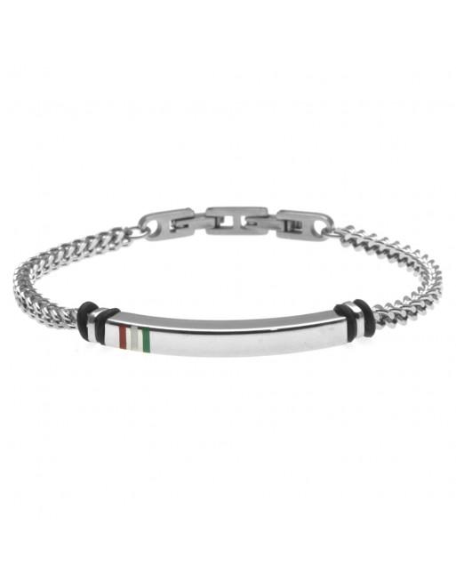 bracciale uomo con bandiera italiana acciaio bcc1512
