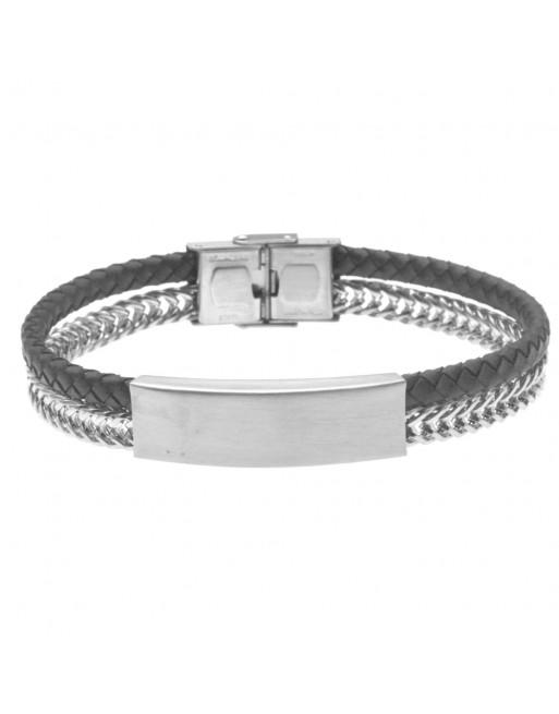 bracciale uomo pelle acciaio piastra per incisione - bcc2633